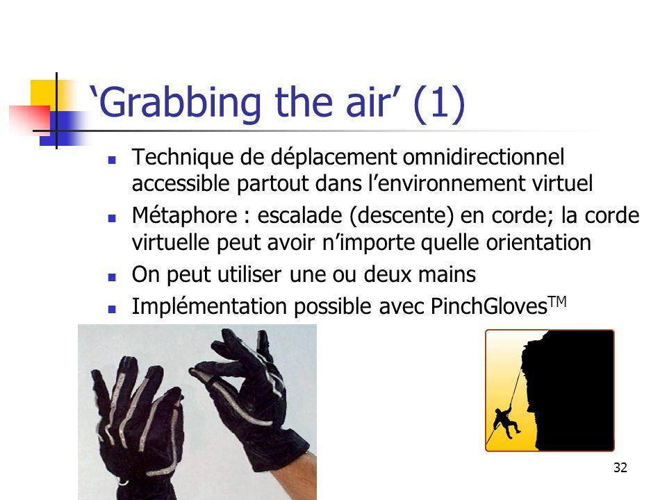 32 Grabbing the air (1) Technique de déplacement omnidirectionnel accessible partout dans lenvironnement virtuel Métaphore : escalade (descente) en corde; la corde virtuelle peut avoir nimporte quelle orientation On peut utiliser une ou deux mains Implémentation possible avec PinchGloves TM