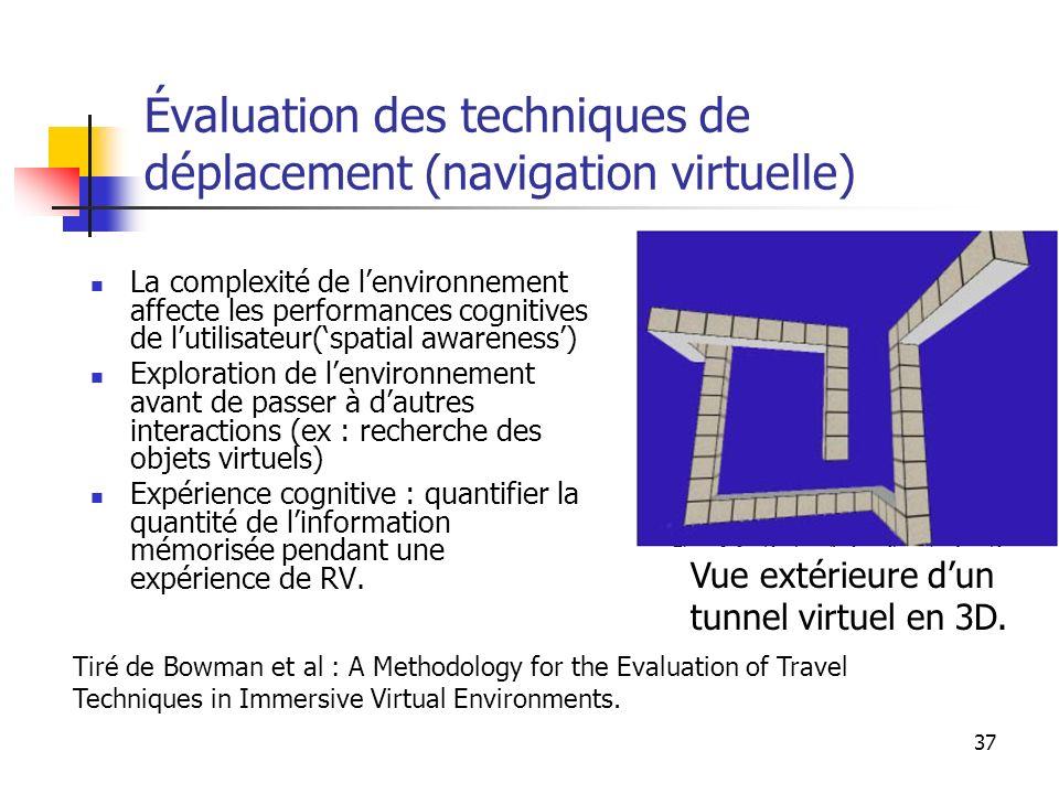 37 Évaluation des techniques de déplacement (navigation virtuelle) La complexité de lenvironnement affecte les performances cognitives de lutilisateur