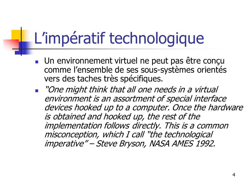 4 Limpératif technologique Un environnement virtuel ne peut pas être conçu comme lensemble de ses sous-systèmes orientés vers des taches très spécifiques.