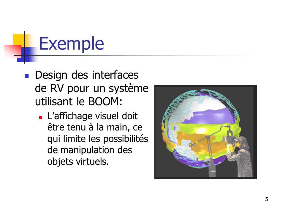 5 Exemple Design des interfaces de RV pour un système utilisant le BOOM: Laffichage visuel doit être tenu à la main, ce qui limite les possibilités de