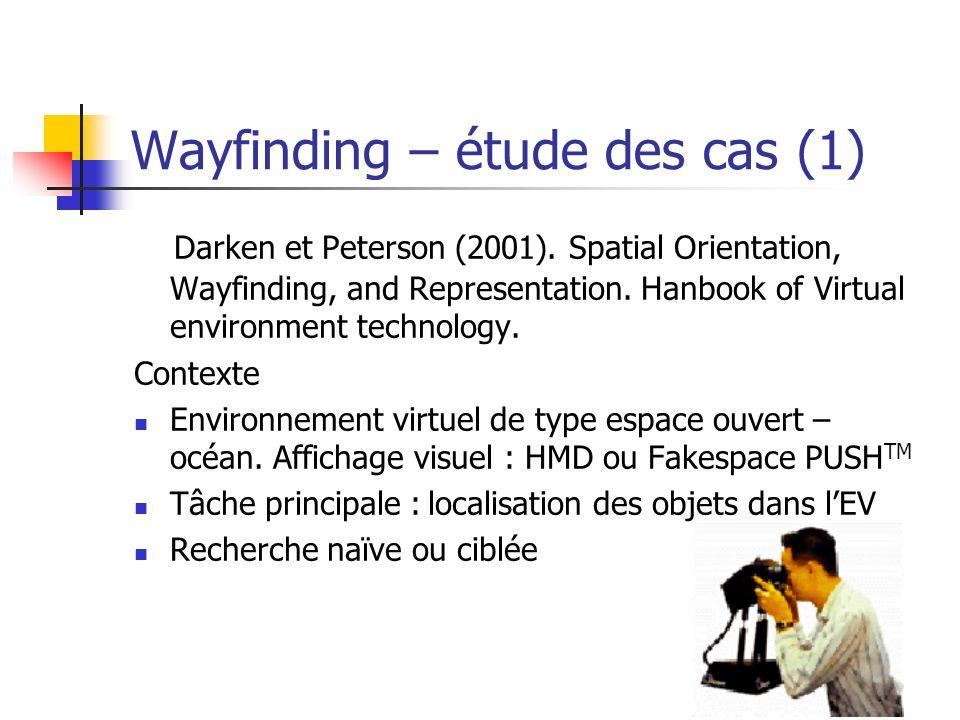 50 Wayfinding – étude des cas (1) Darken et Peterson (2001). Spatial Orientation, Wayfinding, and Representation. Hanbook of Virtual environment techn