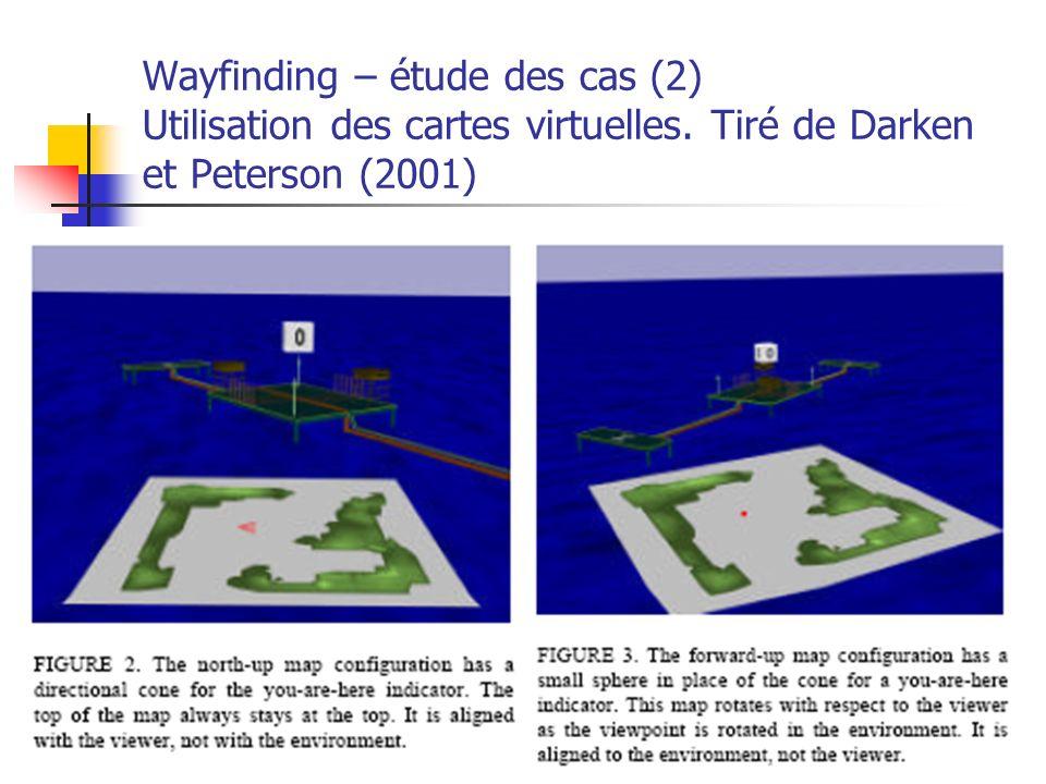 A. Branzan-Albu & D. Laurendeau GIF-66800 51 Wayfinding – étude des cas (2) Utilisation des cartes virtuelles. Tiré de Darken et Peterson (2001)
