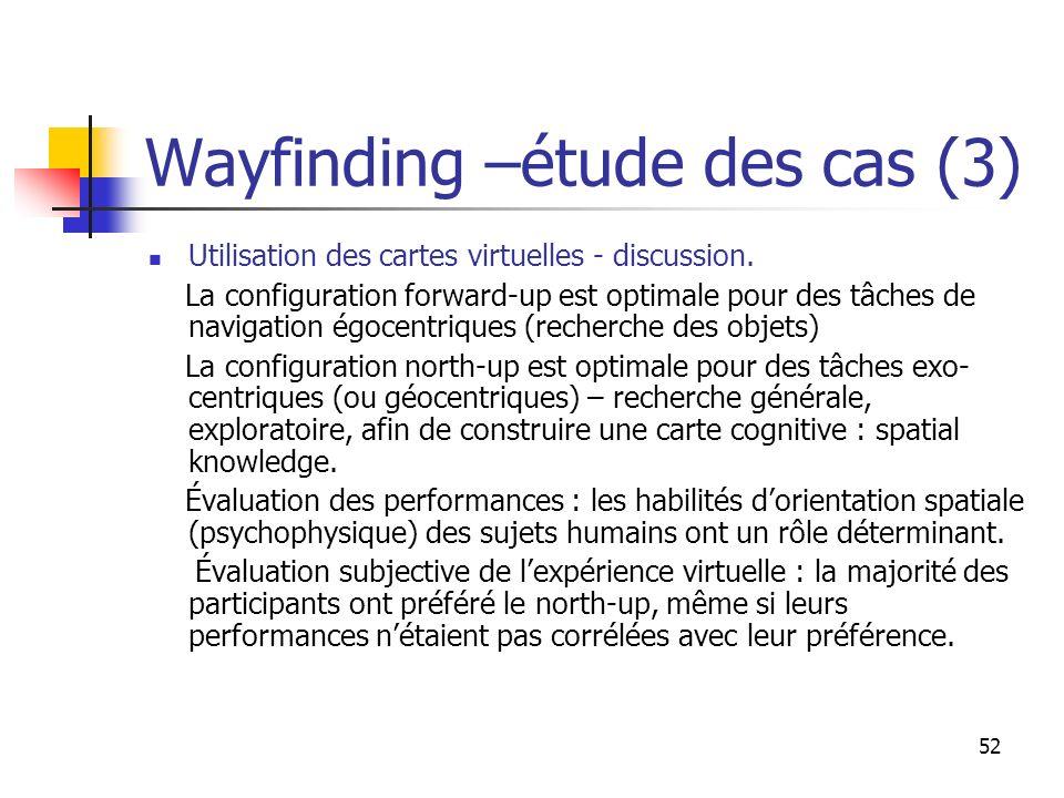 52 Wayfinding –étude des cas (3) Utilisation des cartes virtuelles - discussion. La configuration forward-up est optimale pour des tâches de navigatio