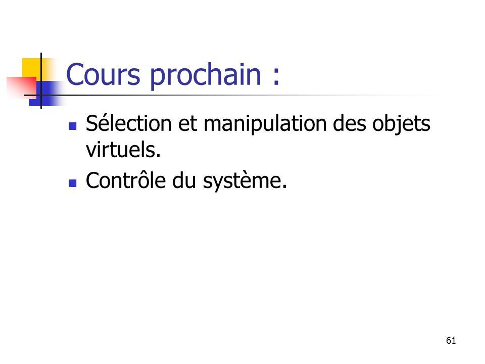 61 Cours prochain : Sélection et manipulation des objets virtuels. Contrôle du système.