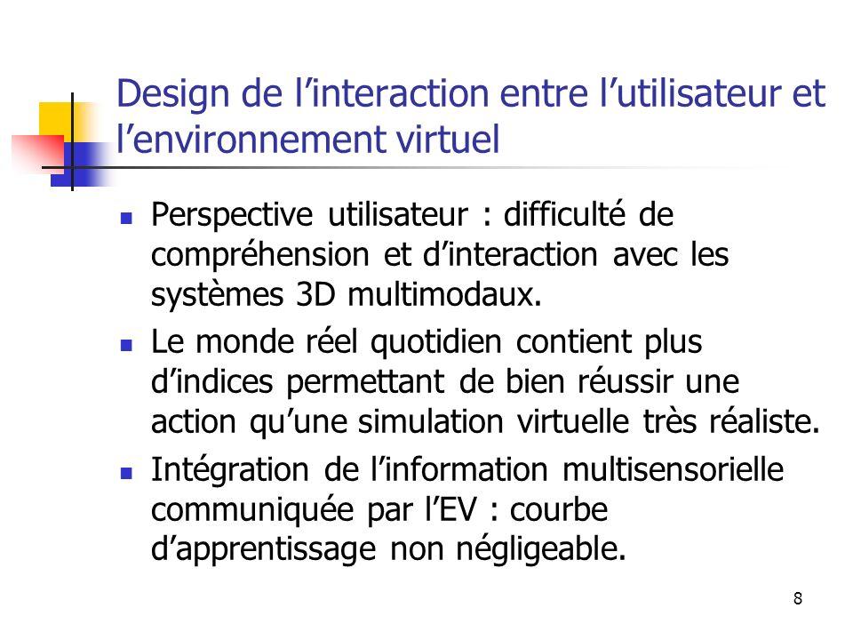 8 Design de linteraction entre lutilisateur et lenvironnement virtuel Perspective utilisateur : difficulté de compréhension et dinteraction avec les systèmes 3D multimodaux.