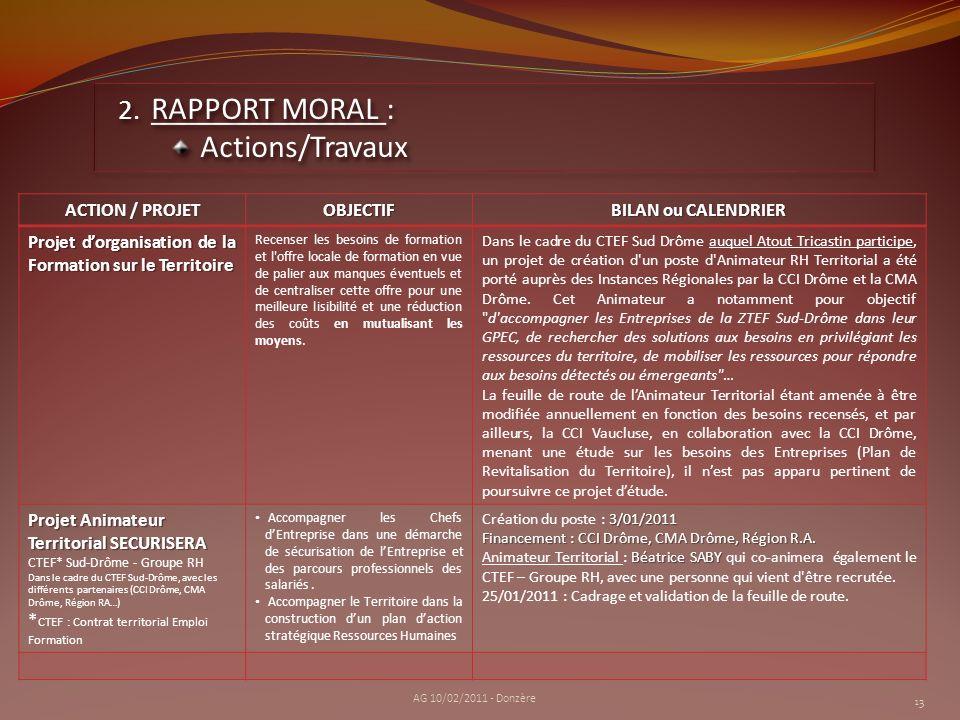 13 2. RAPPORT MORAL : Actions/Travaux Actions/Travaux AG 10/02/2011 - Donzère ACTION / PROJET OBJECTIF BILAN ou CALENDRIER Projet dorganisation de la