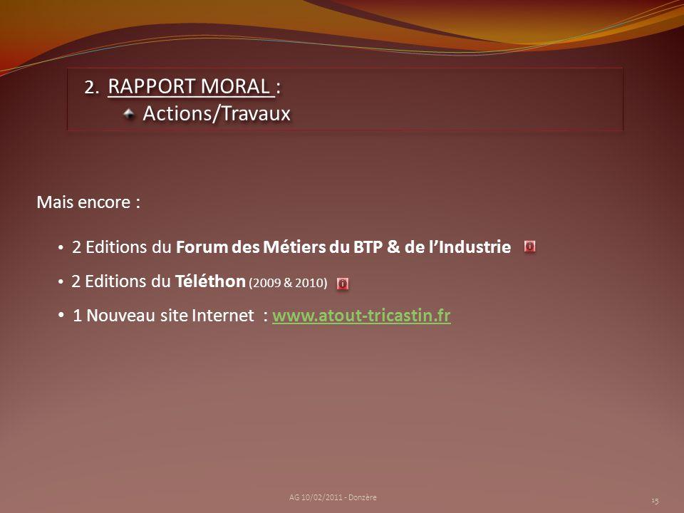 2 Editions du Forum des Métiers du BTP & de lIndustrie 2 Editions du Téléthon (2009 & 2010) 1 Nouveau site Internet : www.atout-tricastin.frwww.atout-