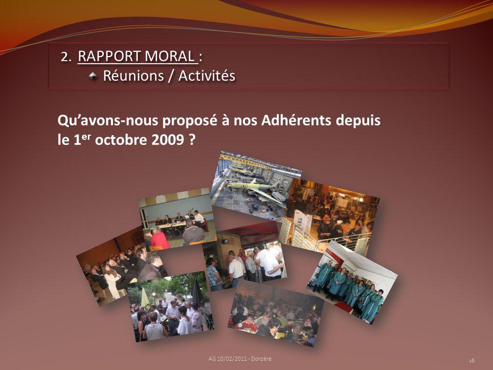 2. RAPPORT MORAL : Réunions / Activités 2. RAPPORT MORAL : Réunions / Activités Quavons-nous proposé à nos Adhérents depuis le 1 er octobre 2009 ? 16