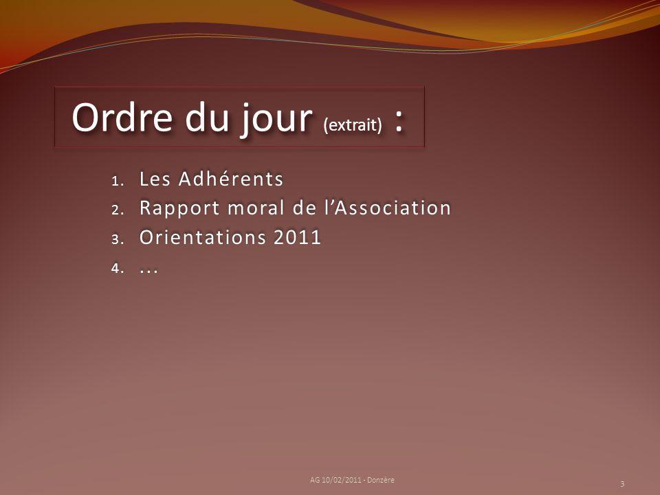 1. Les Adhérents 2. Rapport moral de lAssociation 3. Orientations 2011 4.... 1. Les Adhérents 2. Rapport moral de lAssociation 3. Orientations 2011 4.