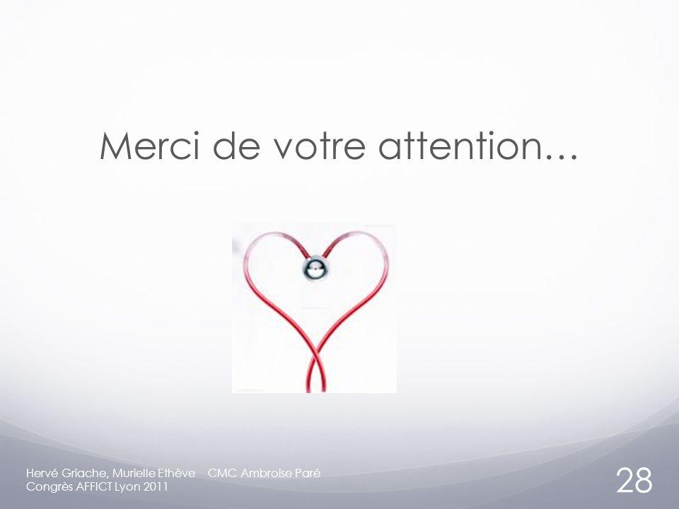 Merci de votre attention… Hervé Griache, Murielle Ethève CMC Ambroise Paré Congrès AFFICT Lyon 2011 28