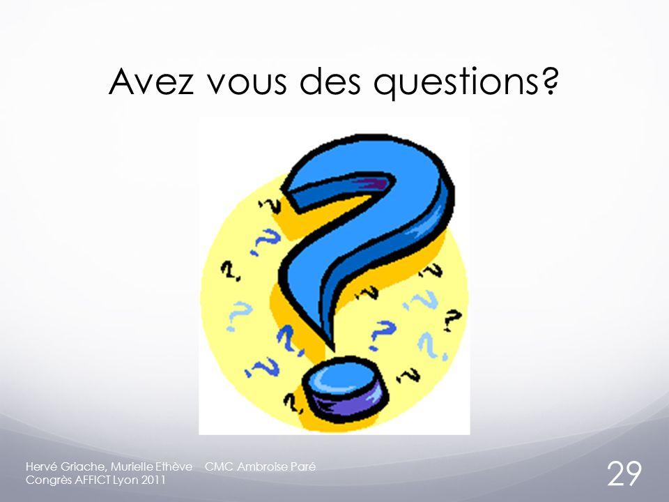 Avez vous des questions.
