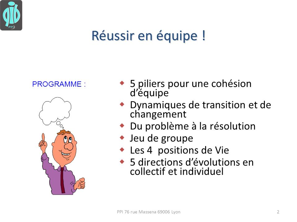5 piliers pour une cohésion déquipe Dynamiques de transition et de changement Du problème à la résolution Jeu de groupe Les 4 positions de Vie 5 direc
