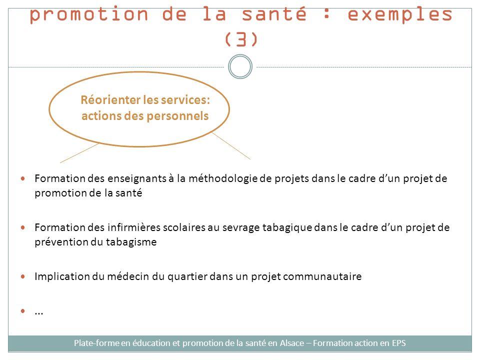 Stratégies dintervention en promotion de la santé : exemples (3) Formation des enseignants à la méthodologie de projets dans le cadre dun projet de pr