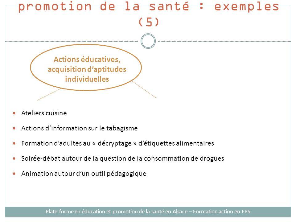 Stratégies dintervention en promotion de la santé : exemples (5) Ateliers cuisine Actions dinformation sur le tabagisme Formation dadultes au « décryp