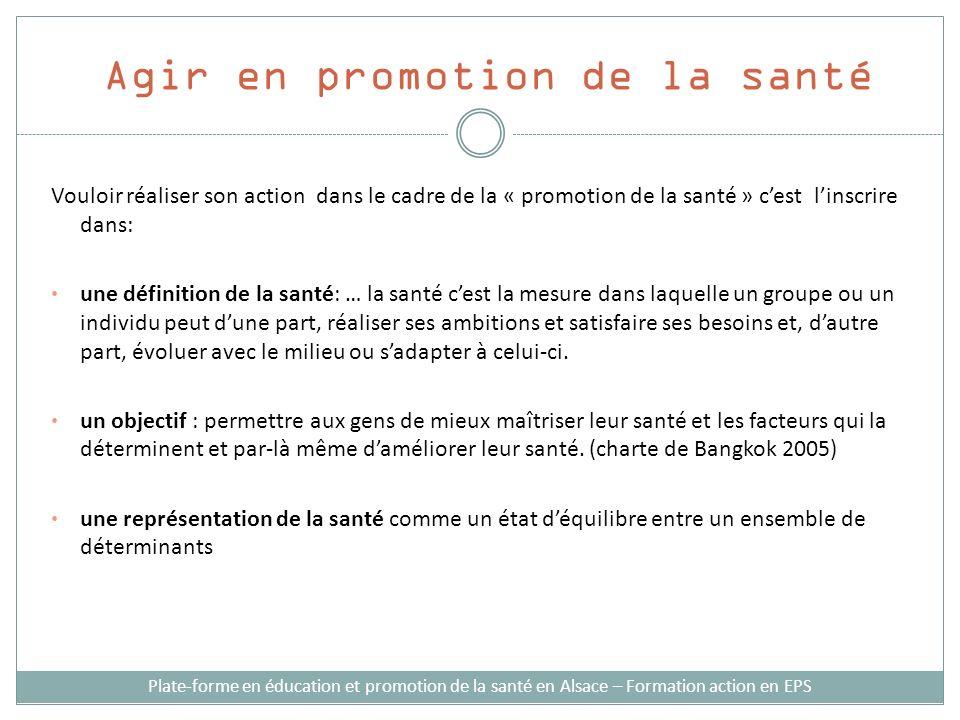 Agir en promotion de la santé Vouloir réaliser son action dans le cadre de la « promotion de la santé » cest linscrire dans: une définition de la sant
