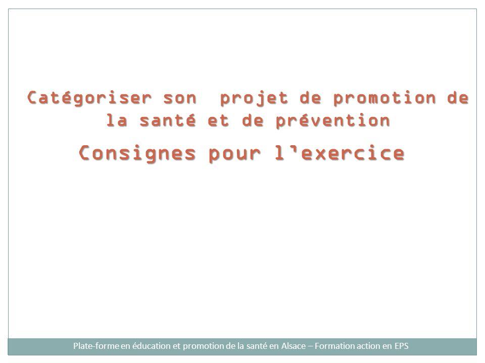 Catégoriser son projet de promotion de la santé et de prévention Consignes pour lexercice Plate-forme en éducation et promotion de la santé en Alsace – Formation action en EPS