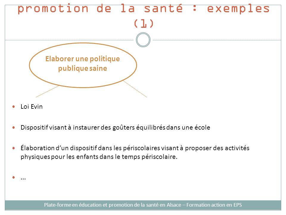 Stratégies dintervention en promotion de la santé : exemples (1) Loi Evin Dispositif visant à instaurer des goûters équilibrés dans une école Élaborat