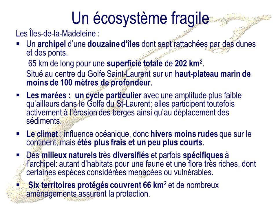 Un écosystème fragile Les Îles-de-la-Madeleine : Un archipel dune douzaine dîles dont sept rattachées par des dunes et des ponts.