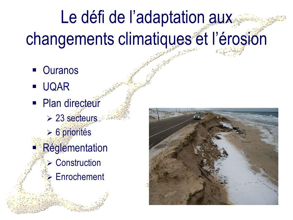 Le défi de ladaptation aux changements climatiques et lérosion Ouranos UQAR Plan directeur 23 secteurs 6 priorités Réglementation Construction Enrochement