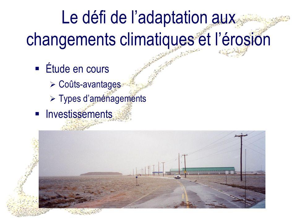 Le défi de ladaptation aux changements climatiques et lérosion Étude en cours Coûts-avantages Types daménagements Investissements