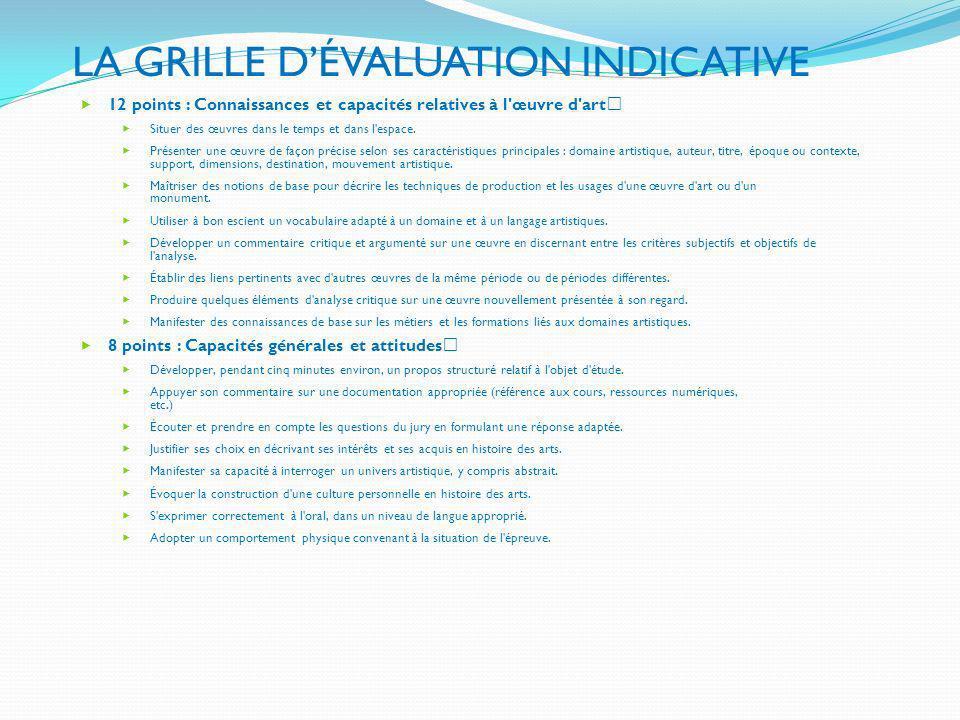 LA GRILLE DÉVALUATION INDICATIVE 12 points : Connaissances et capacités relatives à l'œuvre d'art Situer des œuvres dans le temps et dans l'espace. Pr