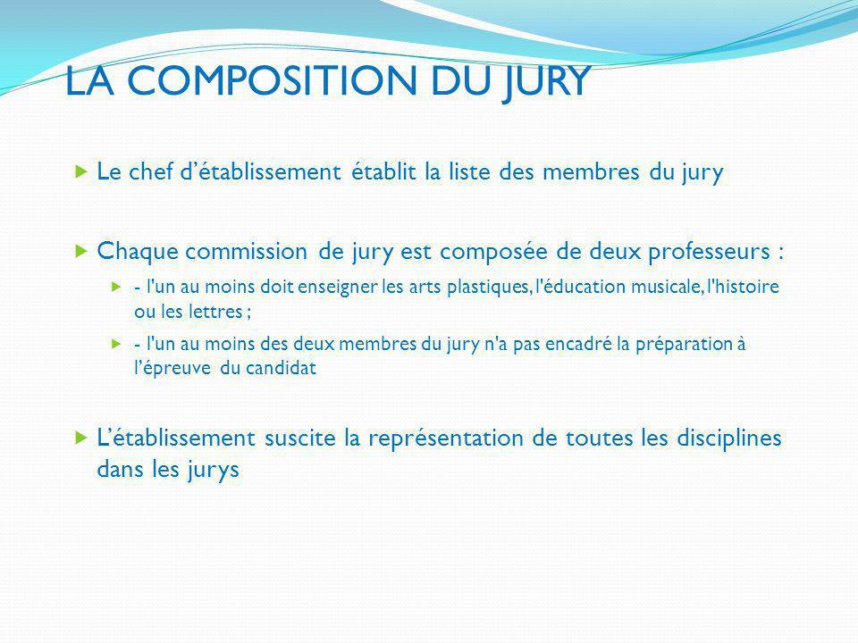 LA COMPOSITION DU JURY Le chef détablissement établit la liste des membres du jury Chaque commission de jury est composée de deux professeurs : - l'un