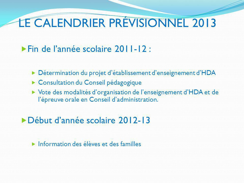 LE CALENDRIER PRÉVISIONNEL 2013 Fin de lannée scolaire 2011-12 : Détermination du projet détablissement denseignement dHDA Consultation du Conseil péd