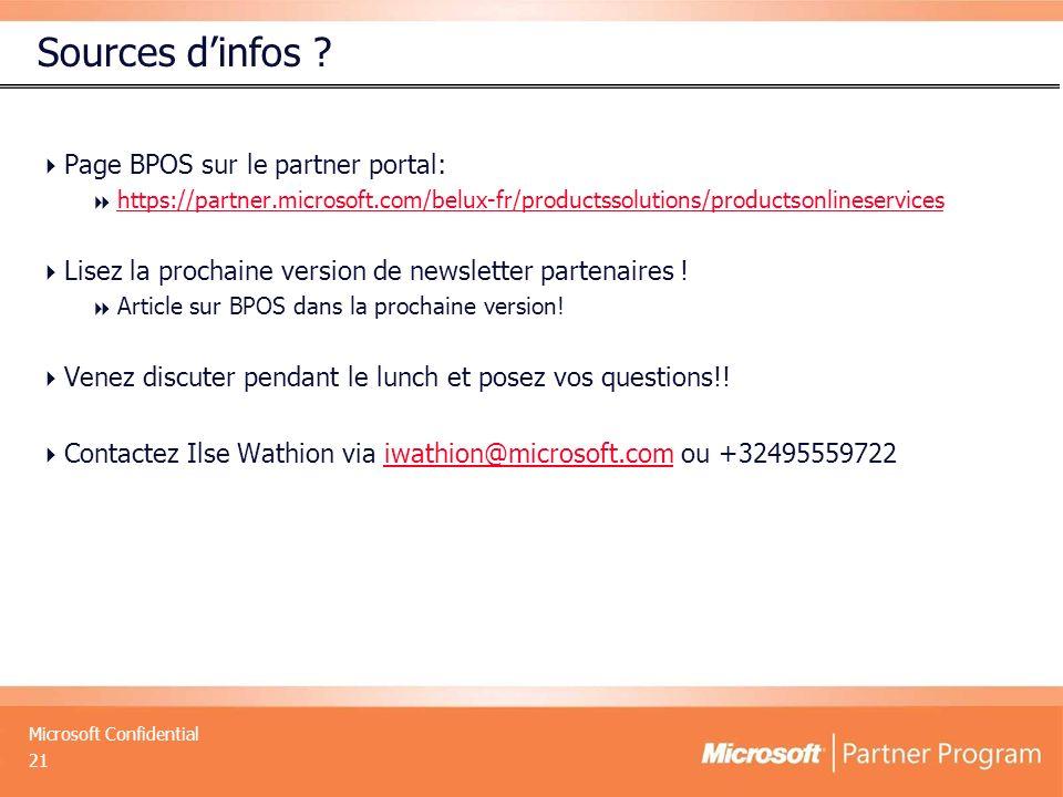 Microsoft Confidential Sources dinfos ? Page BPOS sur le partner portal: https://partner.microsoft.com/belux-fr/productssolutions/productsonlineservic