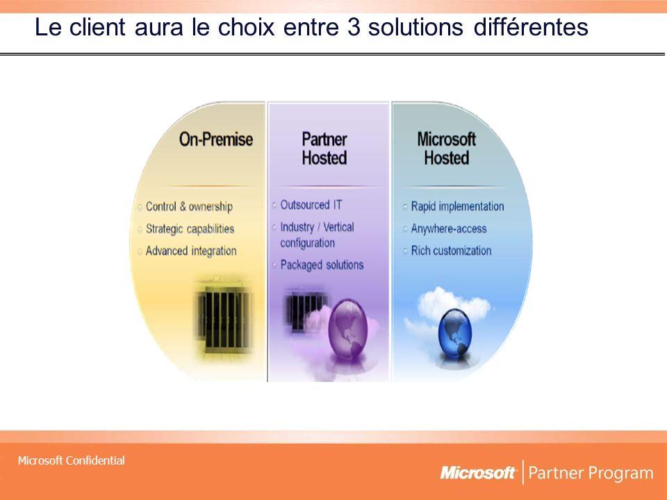 Microsoft Confidential Le client aura le choix entre 3 solutions différentes