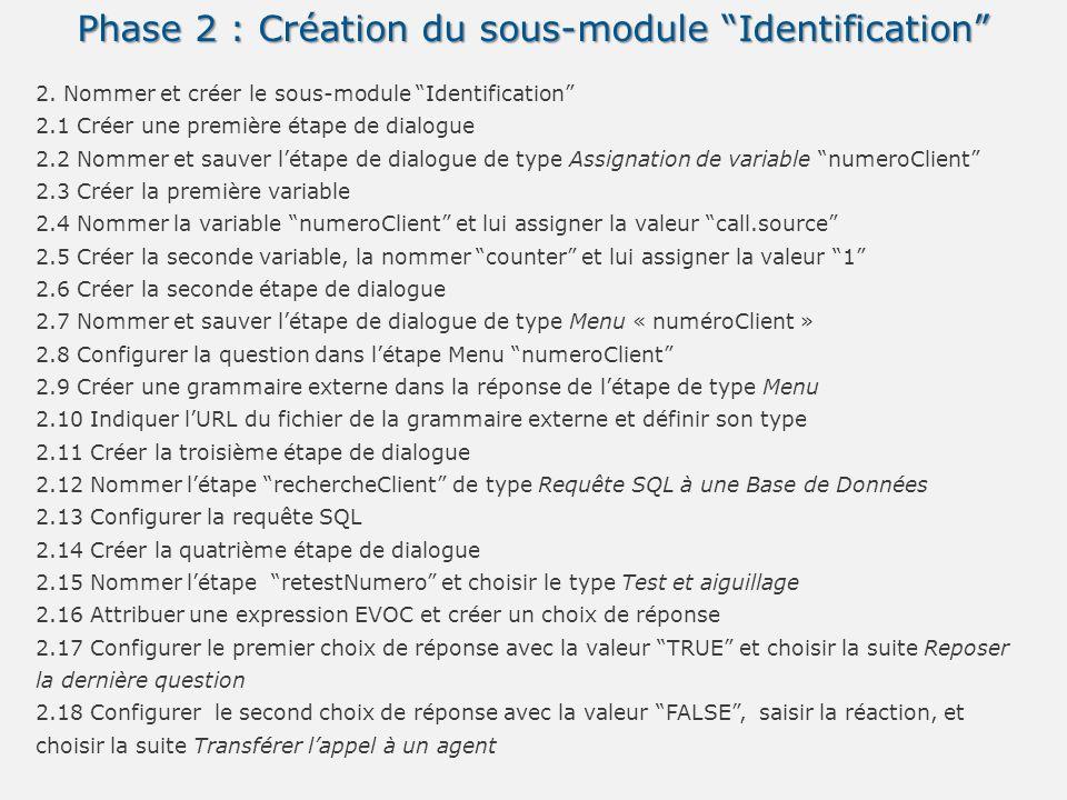 Phase 2 : Création du sous-module Identification 2. Nommer et créer le sous-module Identification 2.1 Créer une première étape de dialogue 2.2 Nommer