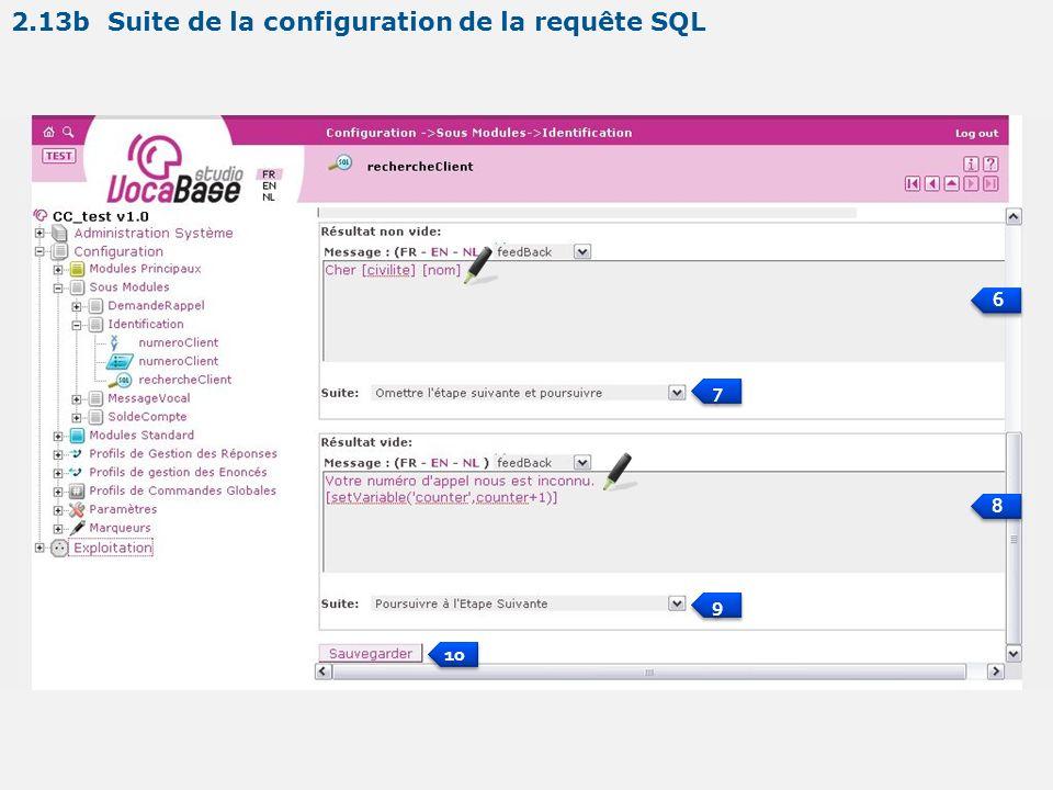 6 6 7 7 8 8 9 9 10 2.13b Suite de la configuration de la requête SQL
