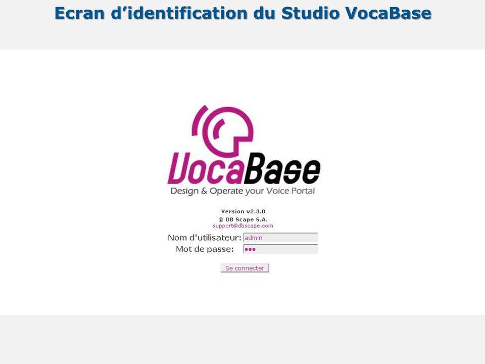Ecran didentification du Studio VocaBase