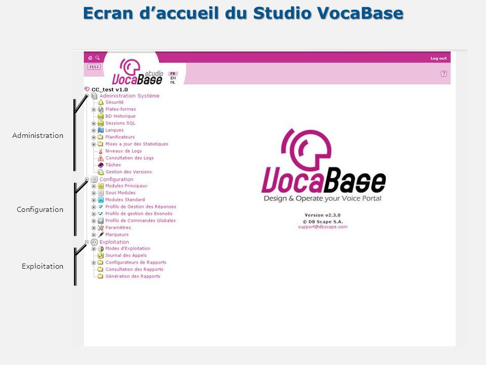 Ecran daccueil du Studio VocaBase Administration Configuration Exploitation