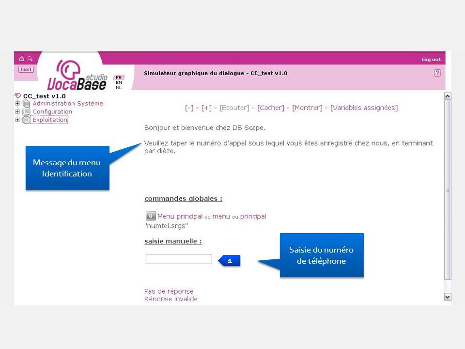 Saisie du numéro de téléphone 1 1 Message du menu Identification Message du menu Identification