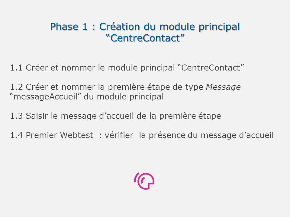 Phase 1 : Création du module principal CentreContact 1.1 Créer et nommer le module principal CentreContact 1.2 Créer et nommer la première étape de ty