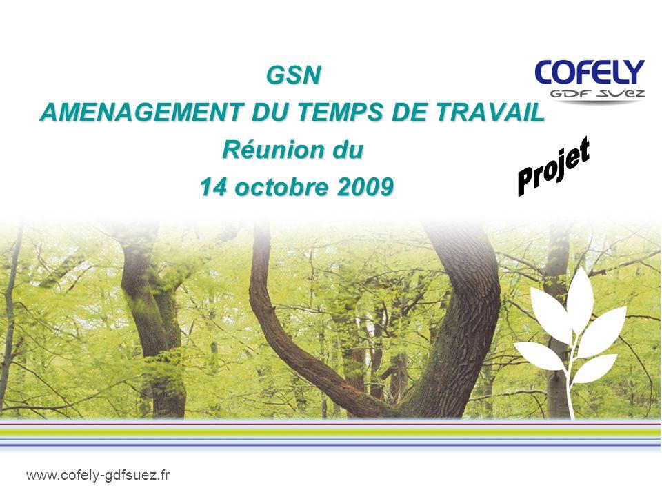 www.cofely-gdfsuez.fr GSN AMENAGEMENT DU TEMPS DE TRAVAIL Réunion du 14 octobre 2009 14 octobre 2009