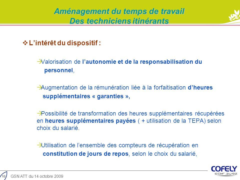 10 GSN ATT du 14 octobre 2009 Lintérêt du dispositif : Valorisation de lautonomie et de la responsabilisation du personnel, Augmentation de la rémunér