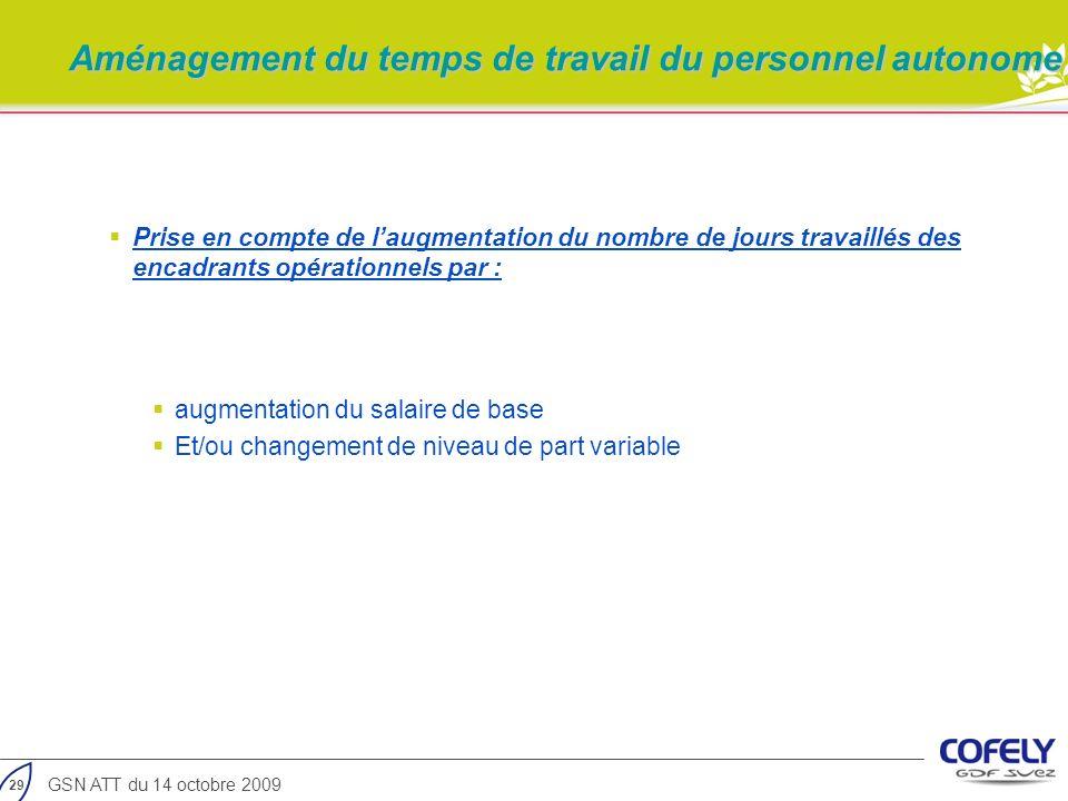 29 GSN ATT du 14 octobre 2009 Prise en compte de laugmentation du nombre de jours travaillés des encadrants opérationnels par : augmentation du salair