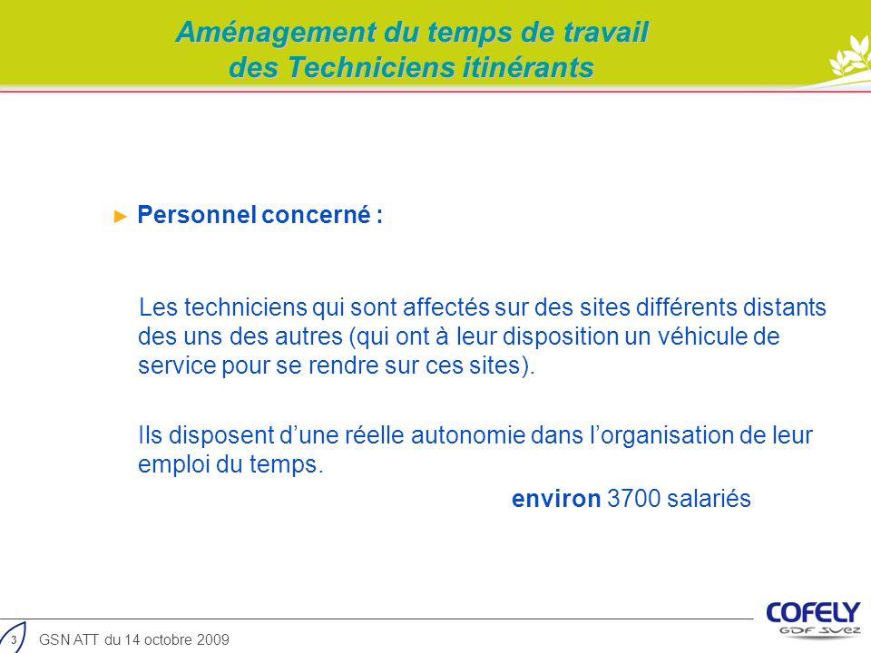 3 GSN ATT du 14 octobre 2009 Aménagement du temps de travail des Techniciens itinérants Personnel concerné : Les techniciens qui sont affectés sur des