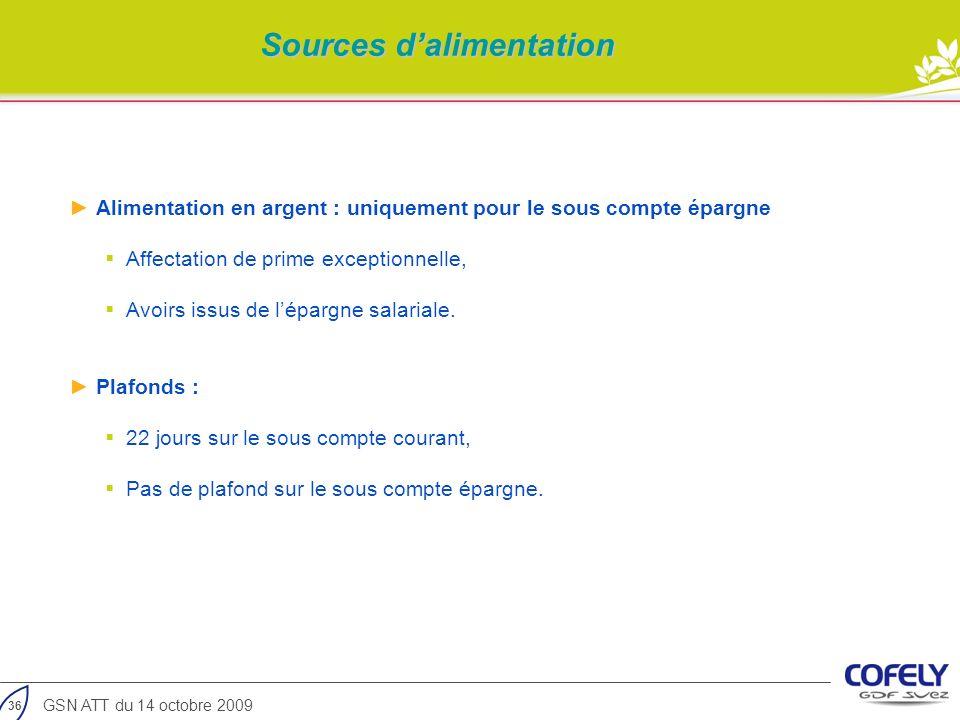 36 GSN ATT du 14 octobre 2009 Alimentation en argent : uniquement pour le sous compte épargne Affectation de prime exceptionnelle, Avoirs issus de lép