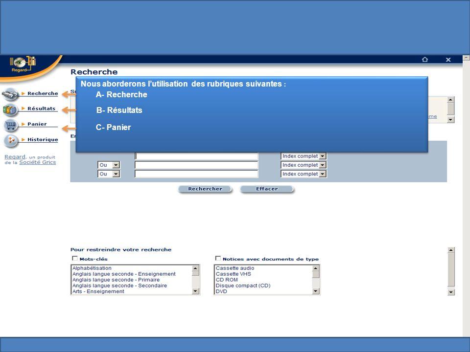 Cette rubrique permet daccéder à tous les documents disponibles.