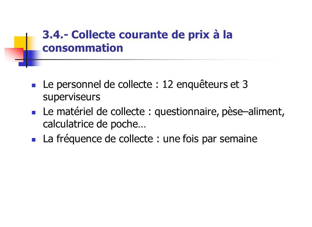 3.4.- Collecte courante de prix à la consommation Le personnel de collecte : 12 enquêteurs et 3 superviseurs Le matériel de collecte : questionnaire,