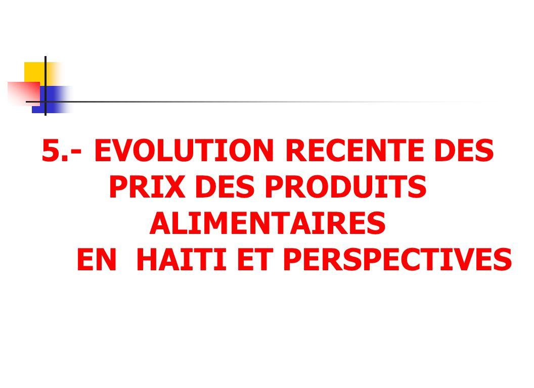 5.- EVOLUTION RECENTE DES PRIX DES PRODUITS ALIMENTAIRES EN HAITI ET PERSPECTIVES