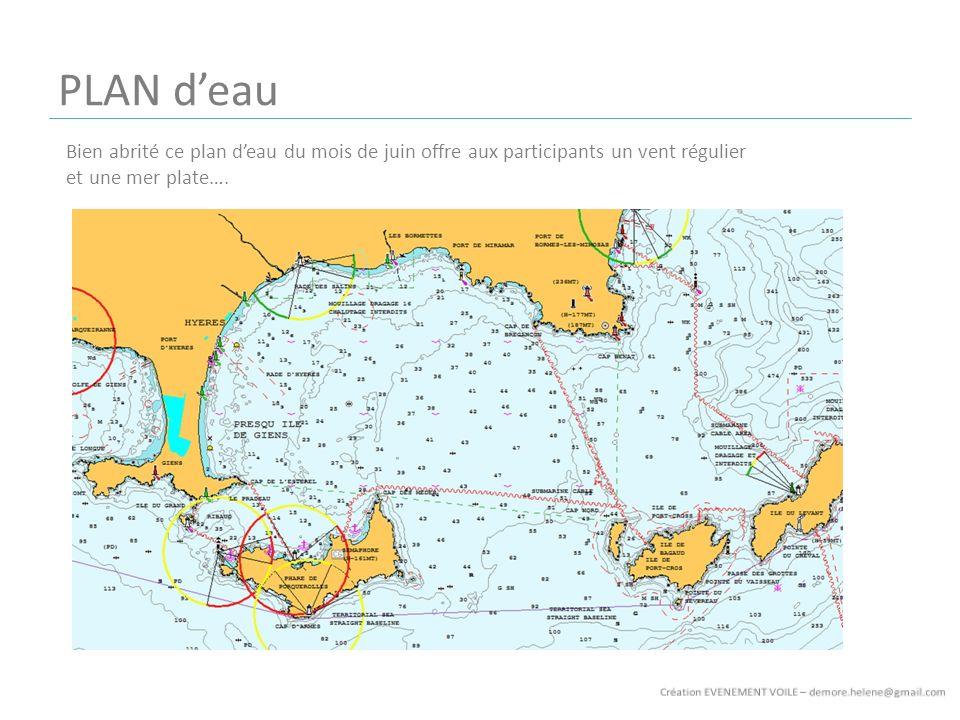 Bien abrité ce plan deau du mois de juin offre aux participants un vent régulier et une mer plate….