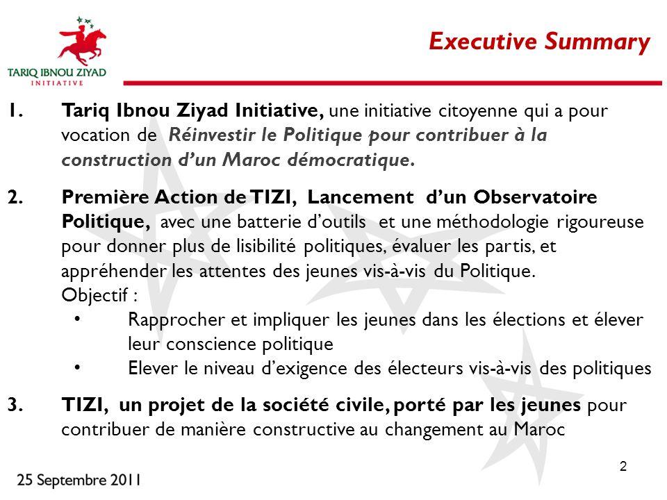 2 Executive Summary 1.Tariq Ibnou Ziyad Initiative, une initiative citoyenne qui a pour vocation de Réinvestir le Politique pour contribuer à la const