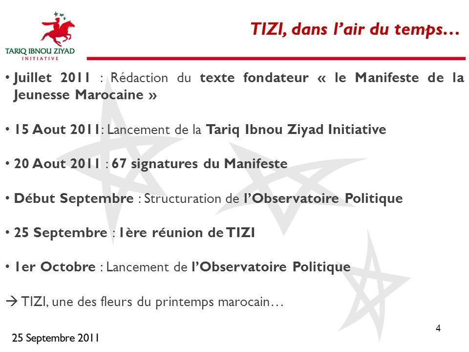 4 Juillet 2011 : Rédaction du texte fondateur « le Manifeste de la Jeunesse Marocaine » 15 Aout 2011: Lancement de la Tariq Ibnou Ziyad Initiative 20