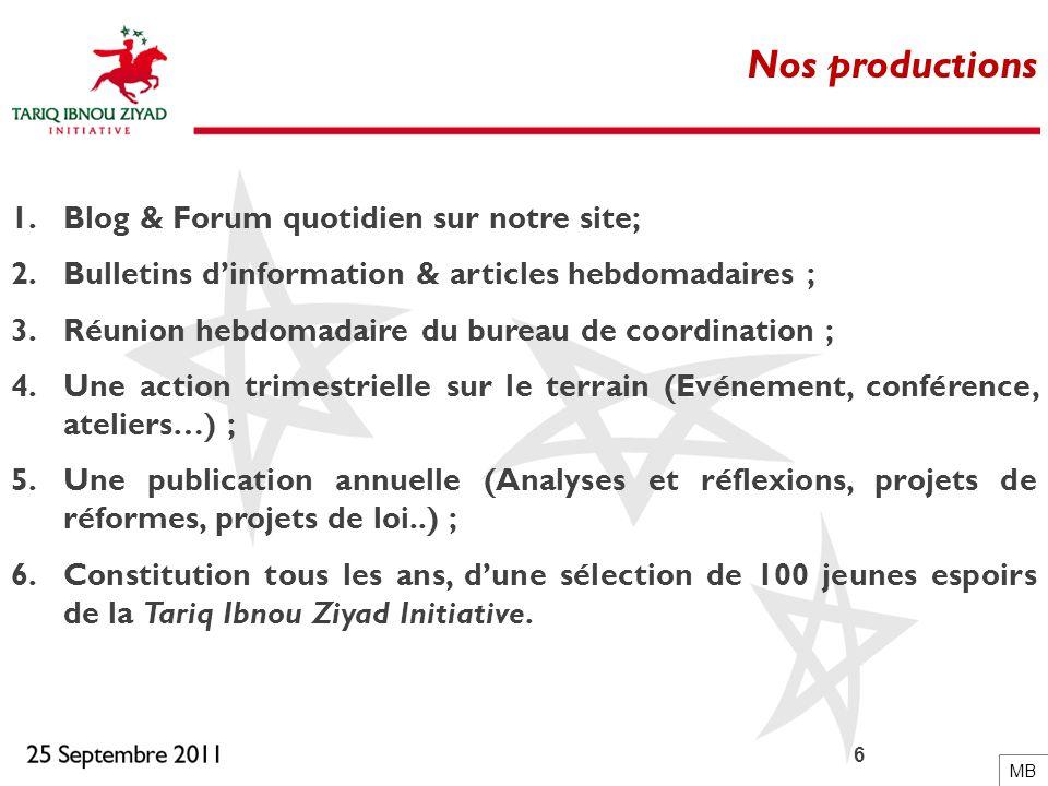 6 Nos productions 1.Blog & Forum quotidien sur notre site; 2.Bulletins dinformation & articles hebdomadaires ; 3.Réunion hebdomadaire du bureau de coo
