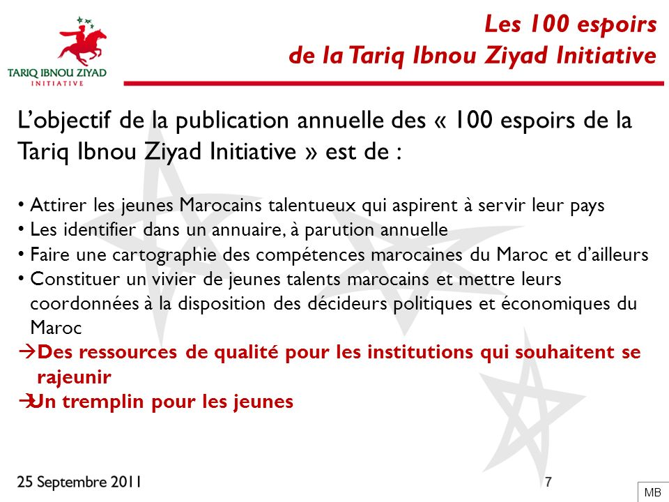 7 Les 100 espoirs de la Tariq Ibnou Ziyad Initiative Lobjectif de la publication annuelle des « 100 espoirs de la Tariq Ibnou Ziyad Initiative » est d