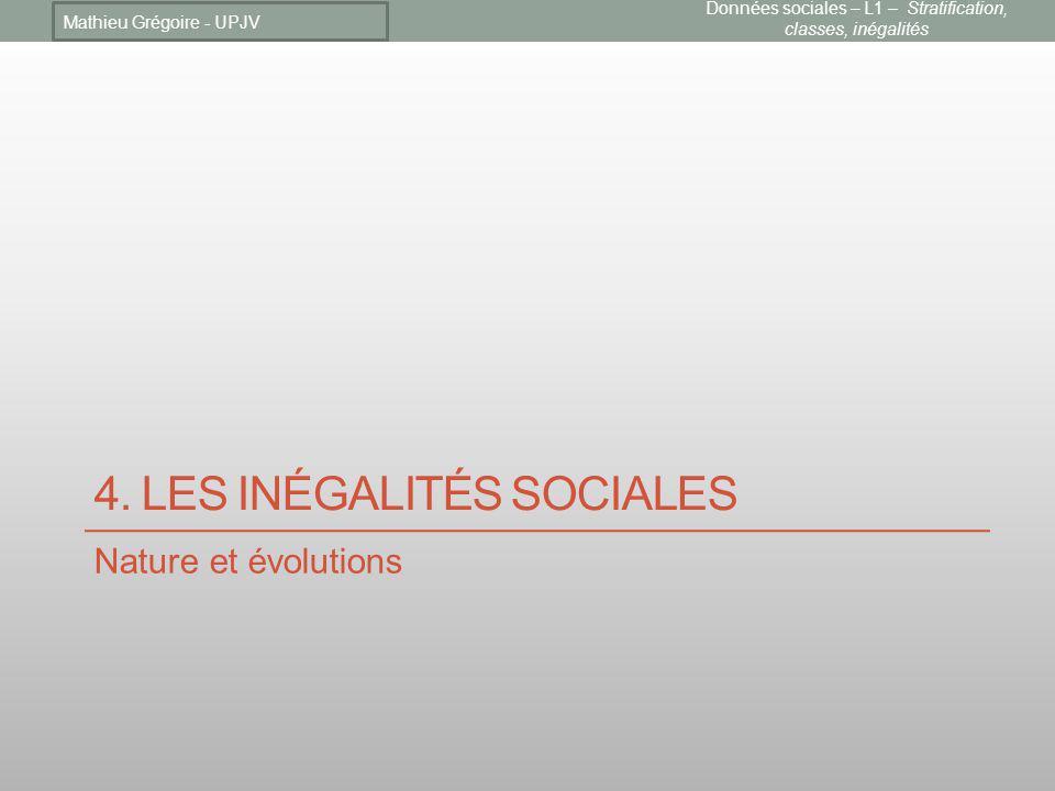 4. LES INÉGALITÉS SOCIALES Nature et évolutions Mathieu Grégoire - UPJV Données sociales – L1 – Stratification, classes, inégalités