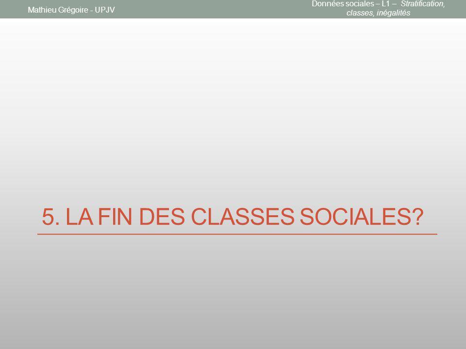 5. LA FIN DES CLASSES SOCIALES? Mathieu Grégoire - UPJV Données sociales – L1 – Stratification, classes, inégalités